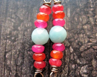 Red Jade, Carnelian, Hot Pink Quartz and Amazonite Bead Connectors -1 Pair - 1.25 inches in length