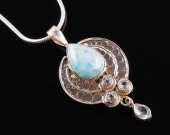 Larimar & blue topaz sterling silver pendant/necklace