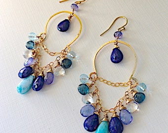 Larimar, Kyanite and Tanzanite Semi Hoop Earrings