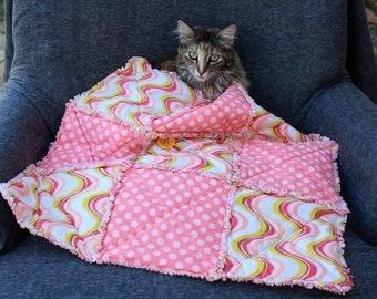 Cat Blanket, Pink Cat Bed, Cat Nip Bed, Designer Cat Bed, Small Dog Blanket, Dog Blanket, Washable Cat Blanket