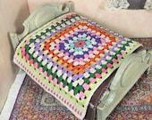 Granny square crocheted dollhouse bedspread, miniature crochet, 1/12 scale crochet bedding