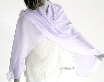 "Pale Lavender Blue Wrap Periwinkle Mauve Scarf, Hydrangea  Lilac Shoulder Wrap, Small Shawl Hand Dyed, 16x74"", Artisan Handmade,  Artinsilk."