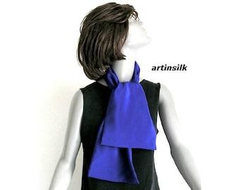 Royal  Blue Neck Scarf, Ultramarine Pure Silk Crepe 16mm Scarf, Unisex Scarf for Men Women, double layer silk, Artinsilk.