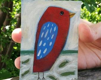 Red Bird Painting, Bird ACEO, Bird Illustration, Green Fish, Naive Style, Small Painting, Cute Bird, Original Art, Whimsical Decor, Fun Art