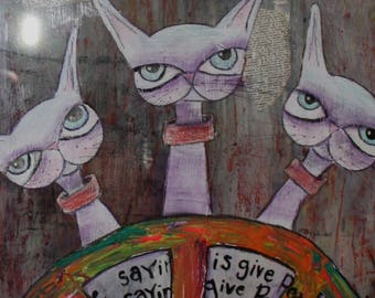 Give Peace a Chance Kitties Mixed media painting neon psychedelic peace sign Big eye cats abstract background Vintage frame