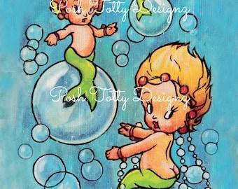 Vintage Baby Mermaid Birthday Party Invitation T-Shirt Transfer Digital Download Printable Image (486)