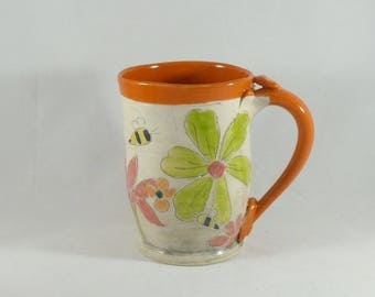 Wheel thrown Pottery Mug, Save the Bees, Coffee cup, beer stein tankard, tea mug, bumblebee teacup, latte mug, daisy vessel 882