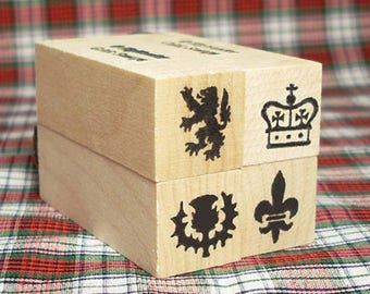 Scottish Heraldic Symbols Boxed Mini Stamp Set of 4