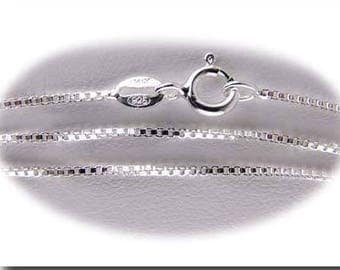 "Sterling Silver Box Chain 0.96mm Dia. Choice of 16"" or 18"" Spring Clasp Italian Made"