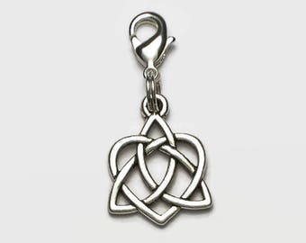 Celtic Trinity Heart Clip On Charm Valentine Wedding Boxed