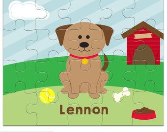 Personalized Dog Puzzle for Kids - Puppy Jigsaw Puzzle with Child's Name, 20 pieces, 8 x 10 inches