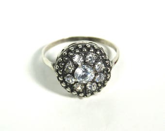 Art Deco Engagement Ring Sterling Silver Halo European Cut Diamond Phianite Ring