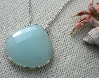 Mia - sterling silver tear shaped chalcedony necklace