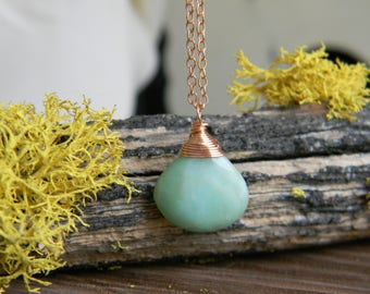 Peruvian Opal and Rose Gold necklace - 14k gold filled wire