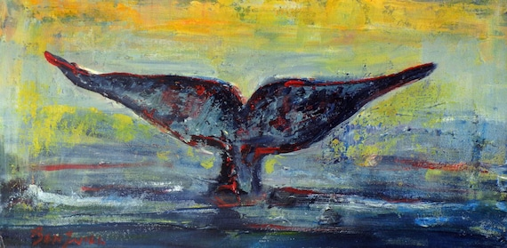 Whale Tail ORIGINAL Ocean Art Oil Painting - 20x10 Artwork by BenWill