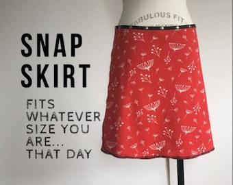 snap skirt, snap wrap skirt, red skirt, adjustable skirt, Erin MacLeod, cute skirt, organic skirt,