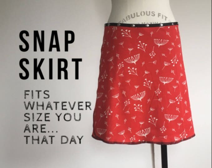 snap skirt, snap wrap skirt, red skirt, adjustable skirt, Erin MacLeod, cute skirt, organic skirt,