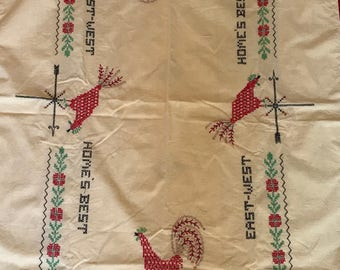 Rectangular Tablecloth Vintage Cream Yellow Rooster Embroidered Chicken Red Trim