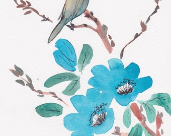 Blue Blossoms and Bird Original Chinese Brush Stroke