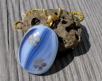 Waterfalls Fused Glass and Gold Necklace