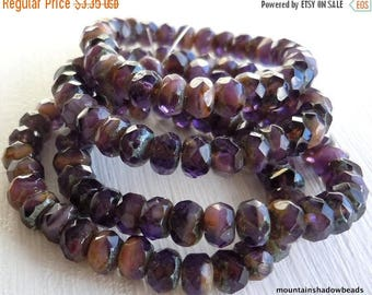 25% OFF Sale 30 3x5mm Milky Amethyst Picasso Rondelle - Czech Glass Beads (G - 179)