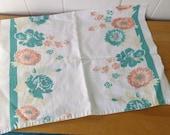 vintage peach floral tea towel