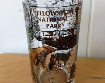 vintage Yellowstone National Park souvenir glass