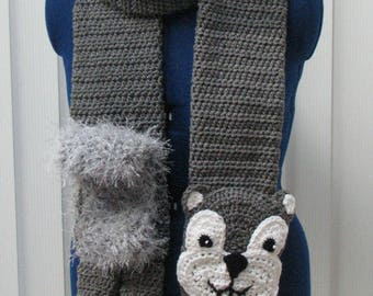 Squirrel Scarf - Animal Scarf - Squirrel -  Crochet Scarf - Men's Scarf - Women's Scarves - Great Gift Idea - Free Shipping