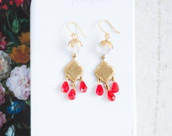 Crystal and Red Bead Chandeliers, Crystal and Gold Earrings, Crystal Chandeliers, Red Chandeliers, Red Holiday Earrings,  Christmas Jewelry