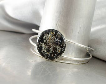 Recycled Circuit Board Bracelet, Circuit Board Jewelry, Science Gift, Upcycled, Dark Brown Cuff, Geeky Bracelet, Technology Gift for Her