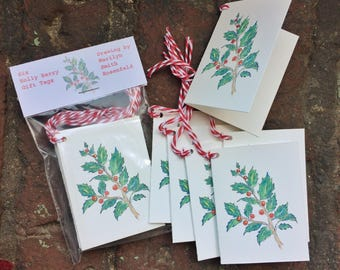 Holly Berry Sparkle Gift Tags - package of 12