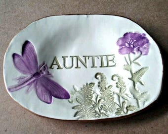 Ceramic Ring Bowl  Trinket dish edged in gold Auntie