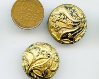 Lot of (2) ART NOUVEAU Edwardian Antique Painted Buttons  Brass 4757