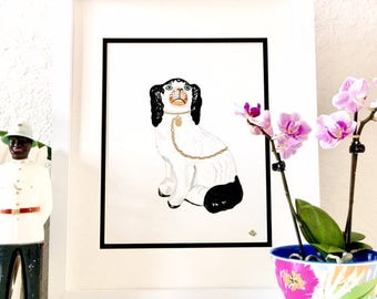 BERNIE STAFFORDSHIRE DOG Framed Original Painting