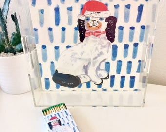 STAFFORDSHIRE SANTA on Blue and Green (2 images -reversible!) 12X12 Acrylic Tray
