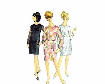 SALE 1960s Misses Sheath Dress Simplicity 6843 Vintage Sewing Pattern Size 12 Bust 32