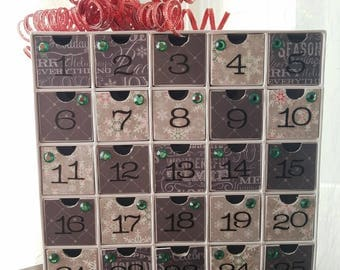 Advent Calendar - Contemporary Holiday Countdown - Chalkboard Subway Art and Snowflakes - Gray and Red - Cardboard Christmas Decoration