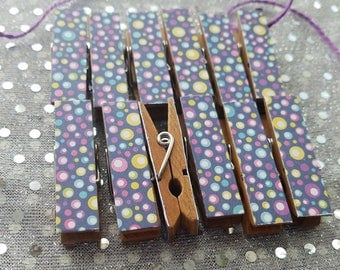 Clothesline and Clothespins, Purple Blue Pink Bubbles, Chunky Little Clips w Twine for Display, Set of 12, Pool Party Summer Birthday