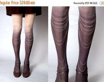 ON SALE/// Tattoo Tights -  nude color one size Chains Necklace full length closed toe gradient tights pantyhose tattoosocks
