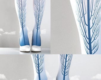 SALE///Happy2018/// Tattoo Tights -  Tree one size blue and white full length printed tights, pantyhose, nylons by tattoosocks