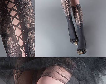 SALE///Happy2018/// Tattoo Tights,  dusty pink one size Lace Up print full length closed toe printed tights pantyhose, tattoo socks
