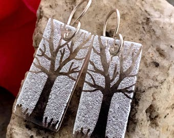 Translucent Silver Tree Earrings Dichroic Hand Etched Fused Glass with Sterling Silver Hooks