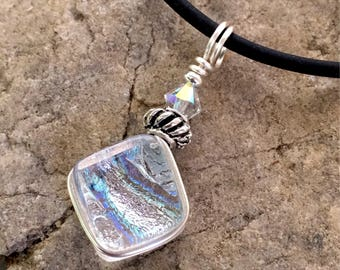 Pretty Drop Translucent Dichroic Glass Pendant Necklace Small Wire wrapped