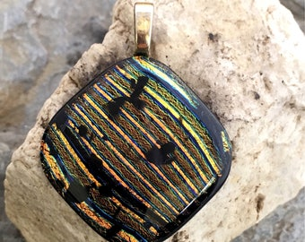 SALE Pretty Dichroic Glass Pendant  - Studio Clearance