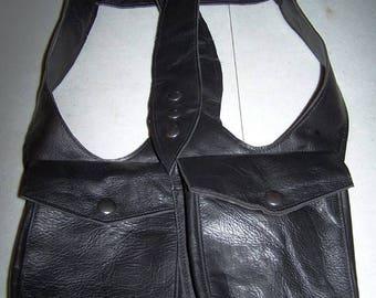 Black Leather Double Holster Bag  Unisex Burning man CUSTOM Made To Order- By Darkwear Clothing