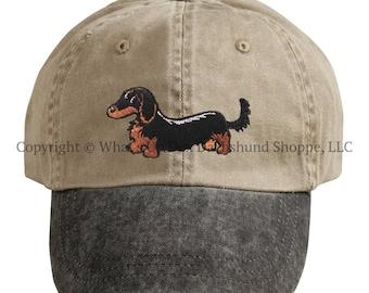 Embroidered Black & Tan Longhair Dachshund Ball Cap / Khaki