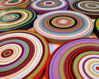 Large wall art / Original Artwork Abstract Paintings  Wood Sculpture Modern Colorful Decor Wooden / Circles Contemporary art / multicolor