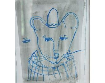 "Original painting ""Blue Mouse"""