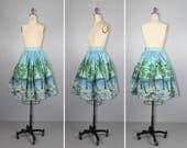novelty skirt / scenic / 1950s / ISLAMORADA vintage cotton skirt