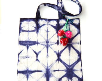 Tote bag with pompons, indigo blue and white, shibori , hand dyed cotton, naturally dyed, market bag, one of a kind, gift